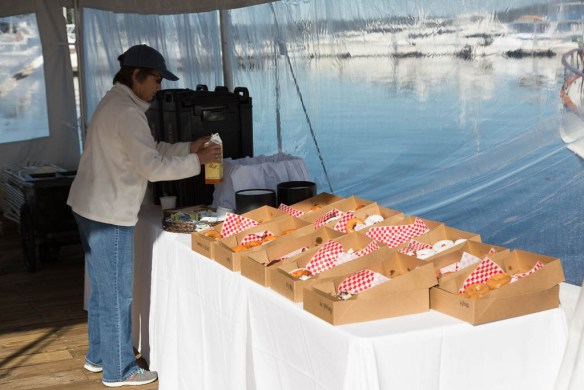 mv Archimedes Grand Banks rendezvous coffee and doughnuts