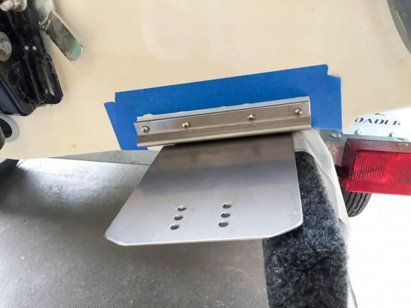 mv Archimedes right dinghy trim tab installed