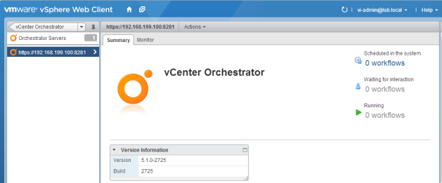vCO registered within the vSphere Web Client