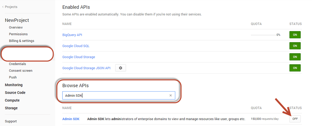 Google Admin SDK APIs and  net integration - Changing a