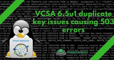 VSCA 6.5U1 – Duplicate keys causing 503 errors