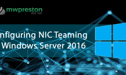 OOB NIC Teaming in Windows Server 2016