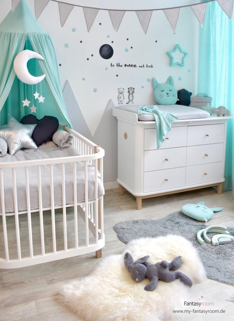 Babyzimmer in Mint, Grau und Schwarz, mit Stickstay Wandstickern und Dinki Balloon Aquarell Sternen in Mint