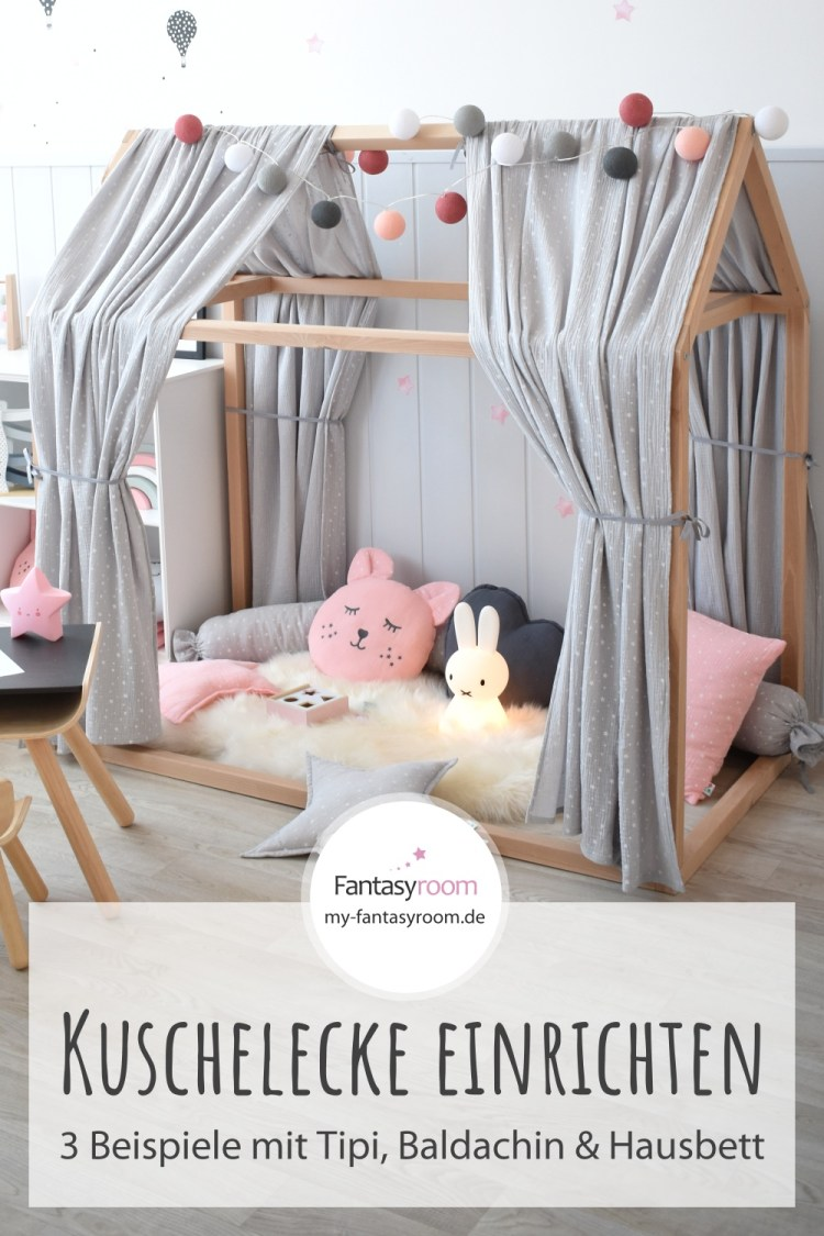 Kuschelecke im Kinderzimmer schön einrichten: Beispiele mit Tipizelten, Baldachinen und Hausbetten