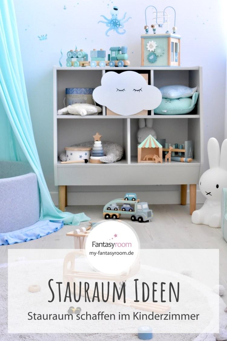 Für Pinterest // Stauraum im Kinderzimmer schaffen: Offenes Regal für Spielzeug