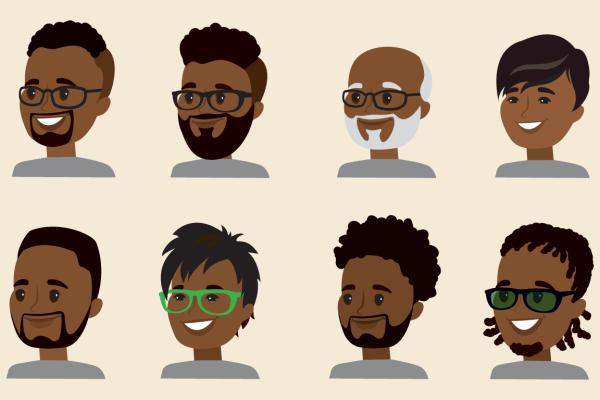 Many cartoon men with Beards