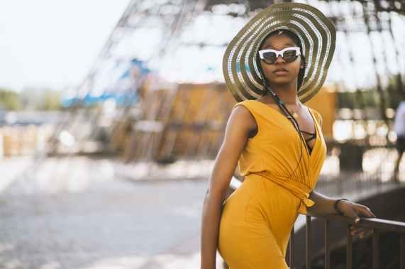 woman wearing yellow sleeveless dress and sunscreen