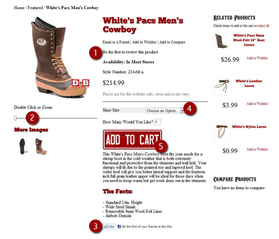 Shows the product detail page layout.