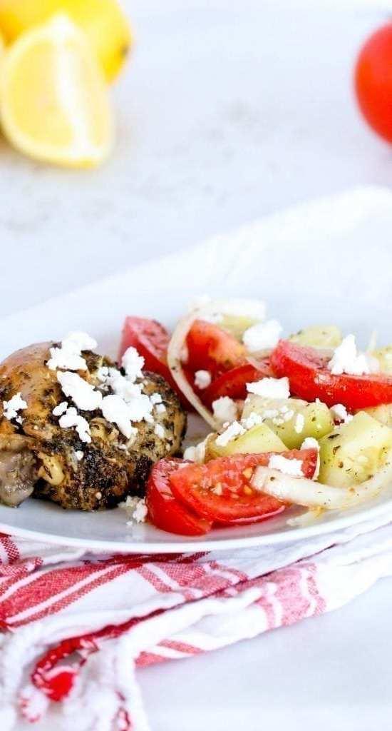 Crockpot Lemon Chicken & Greek Salad