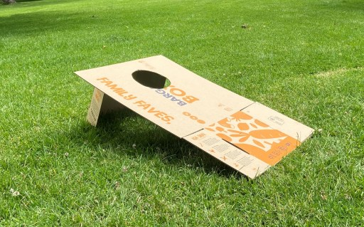 A cornhole target made from a Bargain Box.