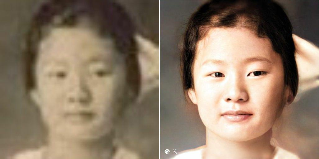 Facial features highlighted using both MyHeritage In Color™ and Photo Enhancer