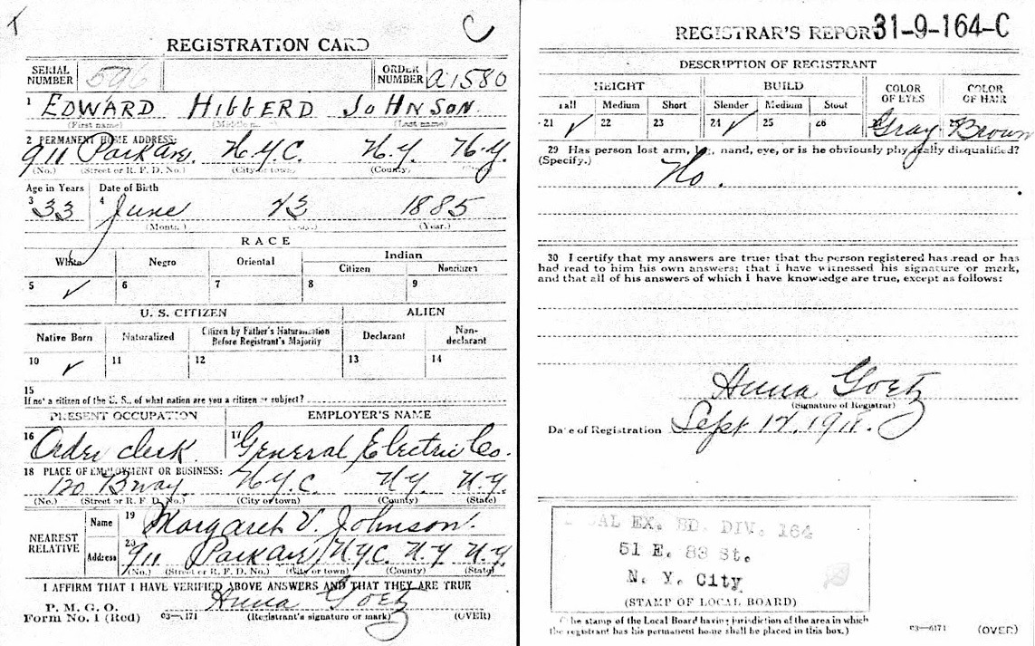 Christmas Tree lights: World War I draft registration card of Edward Hibberd Johnson