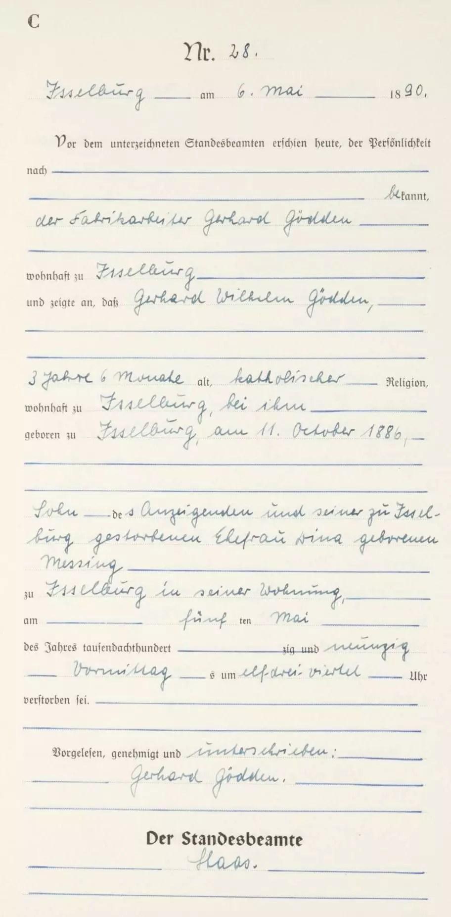 Death Record of Gerhard Wilhelm Gödden [Credit: MyHeritage Germany, North Rhine Westphalia, Death Index 1870–1940]