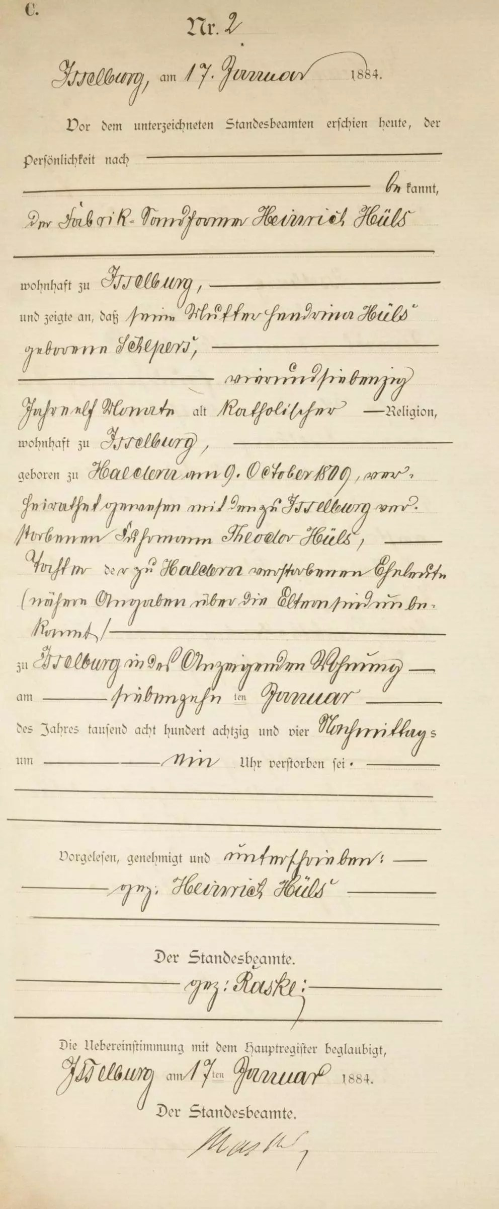 Death Record of Hendrina Schepers [Credit: MyHeritage Germany, North Rhine Westphalia, Death Index 1870–1940]