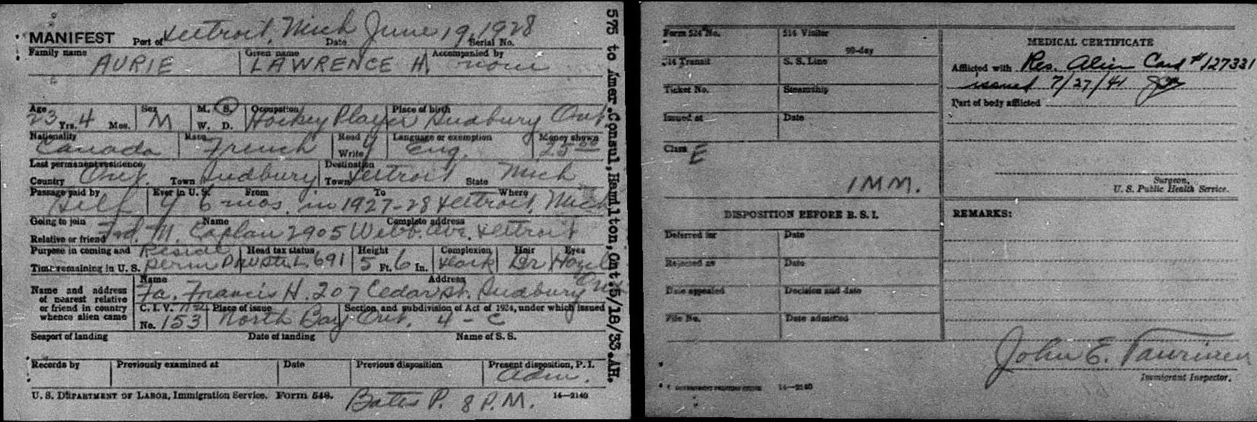 Border Crossing Record of Larry Aurie [Credit: MyHeritage United States, Border Crossings from Canada 1895–1956]