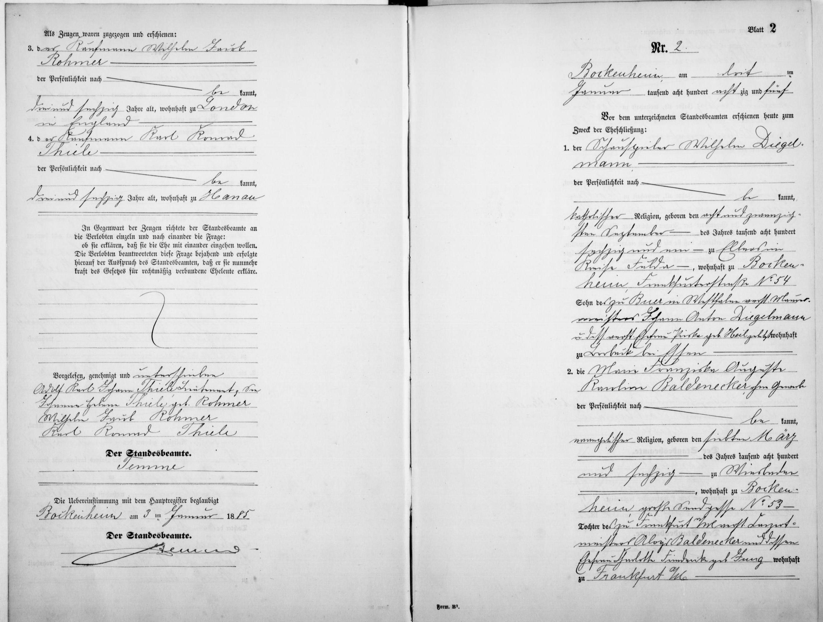 Marriage record of Wilhelm Diegelmann and Marie Franziska Auguste Karoline Baldenecker from the Germany, Hesse Marriage Index, 1849–1931