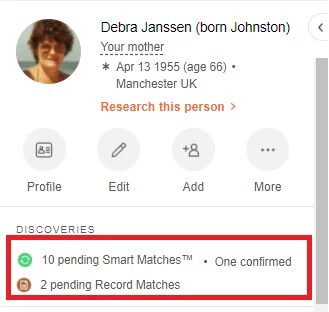 Smart Matches™ and Record Matches on the side panel