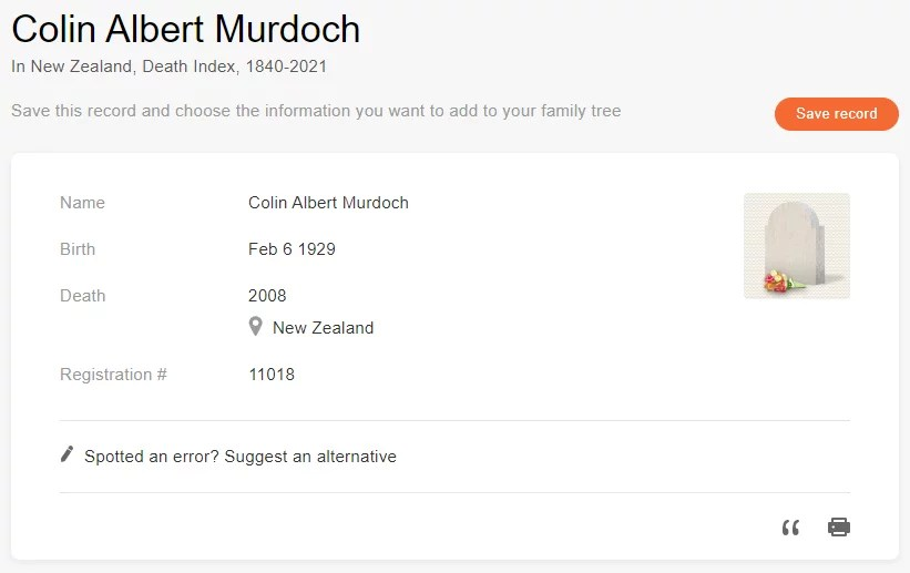 Death record of Colin Albert Murdoch [Credit: MyHeritage New Zealand, Death Index, 1840-2021]