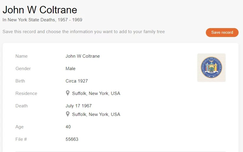 Death record of John W. Coltrane [Credit: MyHeritage New York State Deaths, 1957–1969]