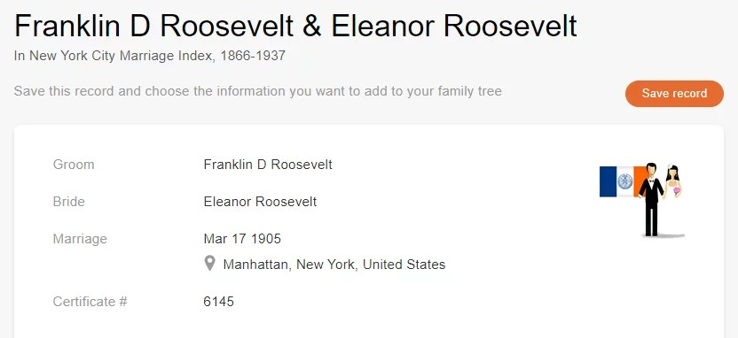 Marriage Record of Franklin D. Roosevelt and Eleanor Roosevelt [Credit: MyHeritage New York City Marriage Index, 1866–1937]