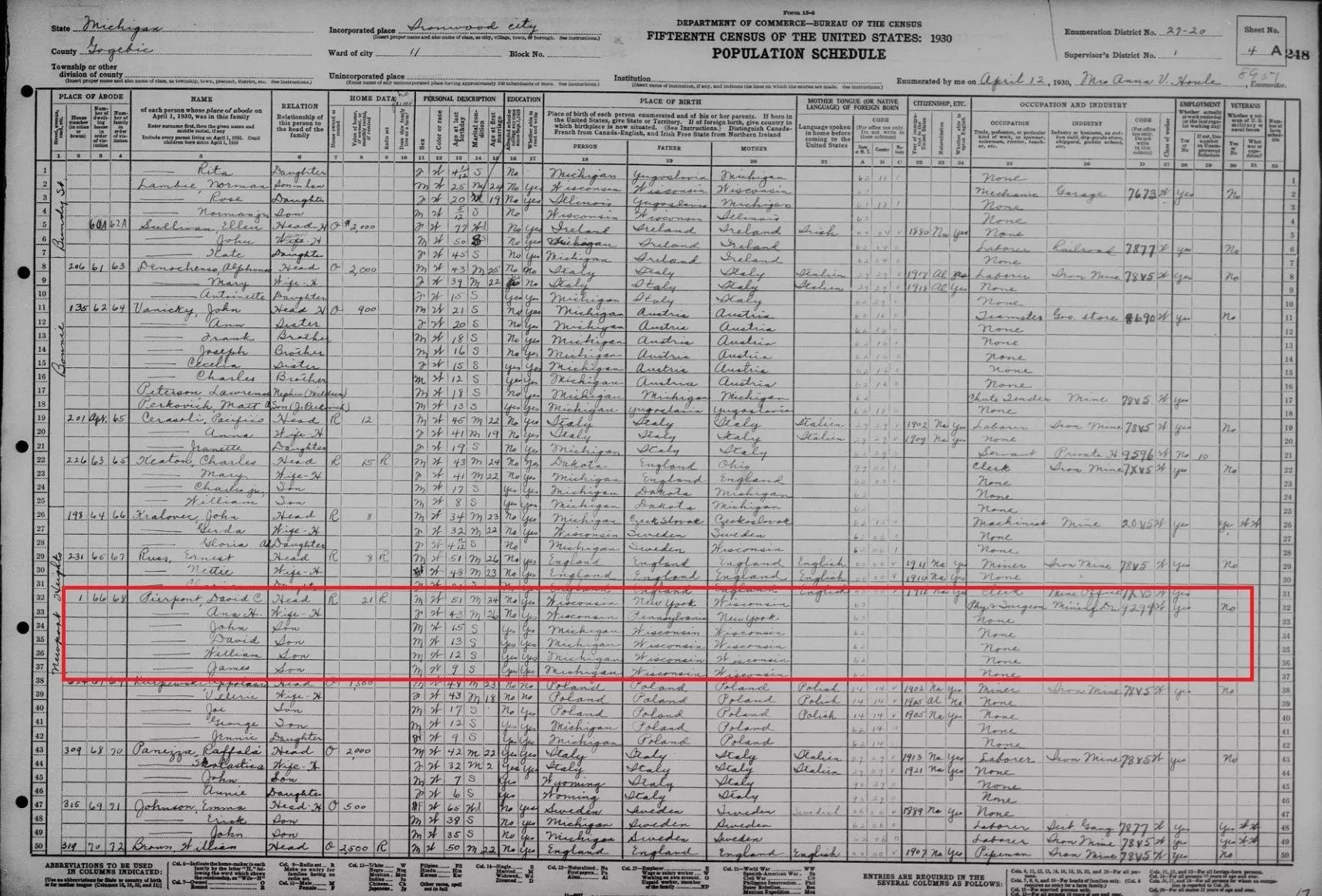 1930 Census Record of Dr. David Cowee Pierpont [Credit: MyHeritage]