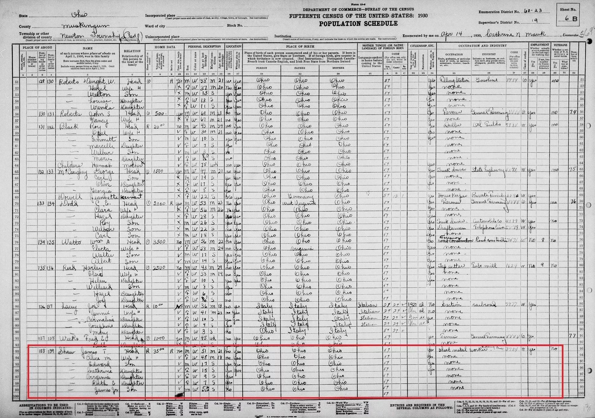 [Credit: MyHeritage 1930 U.S. Census Records]
