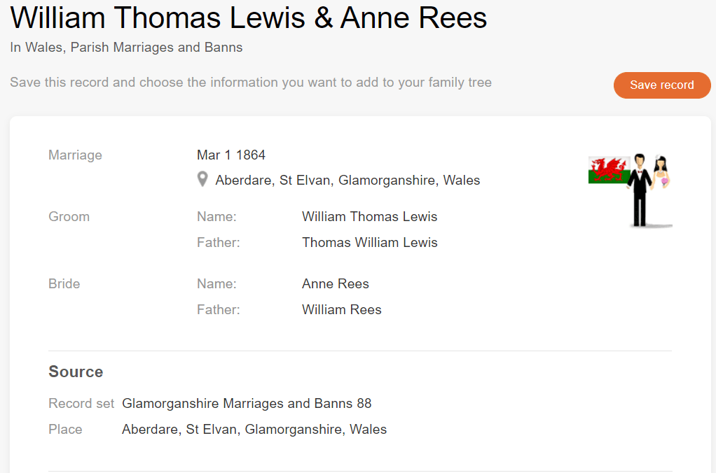 Marriage record of Anne Rees and William Thomas Lewis, 1864. [Credit: MyHeritage Wales, Parish Marriages and Banns]