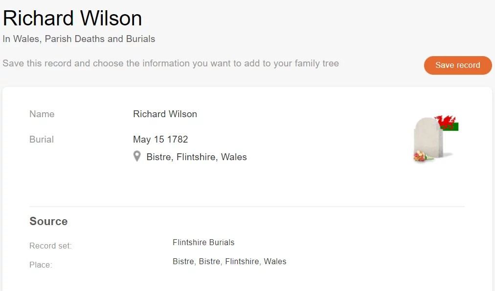 Burial record of Richard Wilson, 1782. [Credit: MyHeritage Wales, Parish Deaths and Burials]