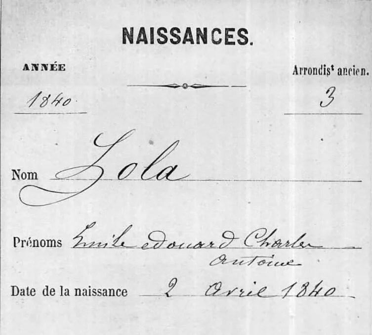 Birth record of Émile Zola [Credit: MyHeritage France, Church Baptisms and Civil Births]