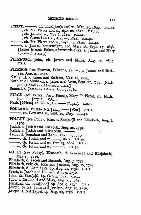 Birth record of John Pierpont [Credit: Medford Birth Records]