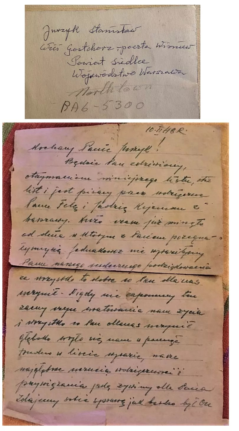 One of the letters and an envelope addressed to Stanislaw Jurzyk from the sisters he rescued