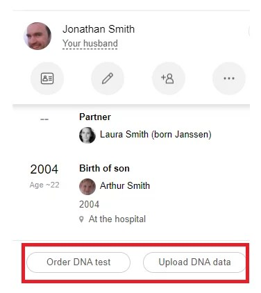 """New """"Order DNA test"""" and """"Upload DNA data"""" buttons on the side panel"""