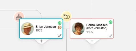 Family tree cards in the new design have more subtle colors and new birthday and anniversary icons