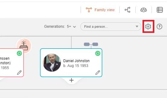 Accessing family tree settings