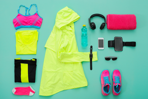 Workout clothes and gear laid out