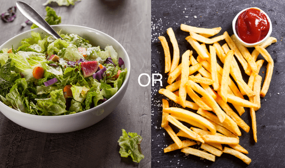 Salad vs fries health food vs fast food concept