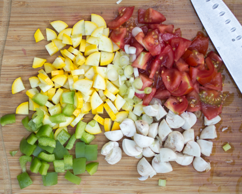 Chopped vegetables ready to cook with