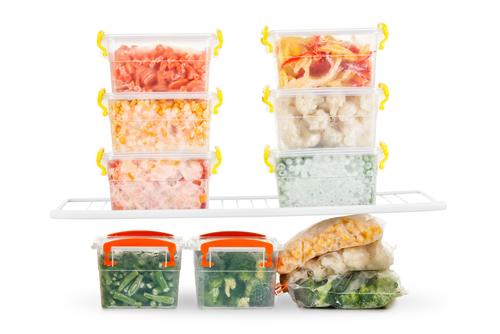 Refrigerated food in containers ready to cook and eat