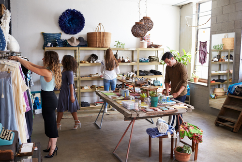 Small craft store with people