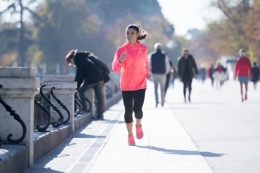 Woman athlete on long walk or jog