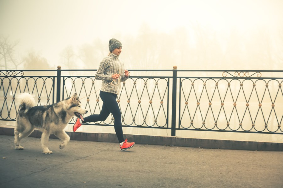 Woman walking in morning with dog