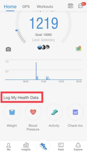 Pacer iOS main interface log health data