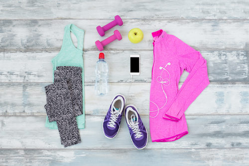 Women's workout clothes laid out