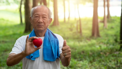 Senior man fitness heart health concept
