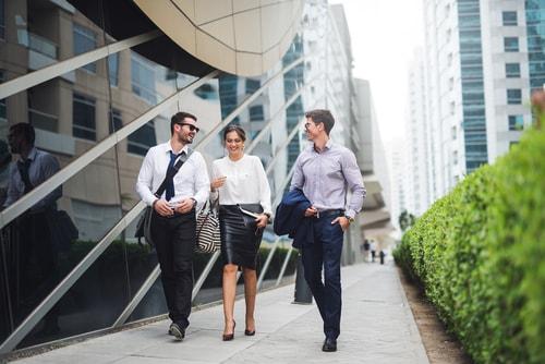 Employees walking outside during lunch break