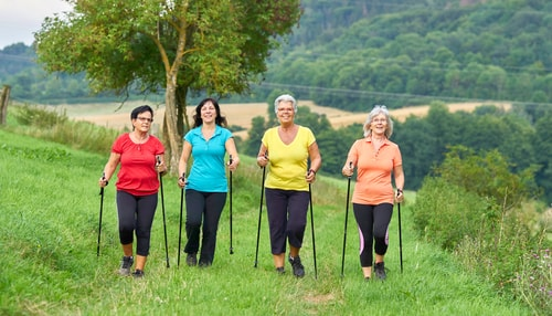 Senior women nordic walking in a field