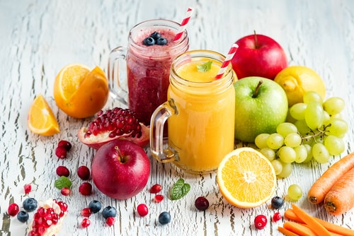 Colorful healthy home made fruit and juices