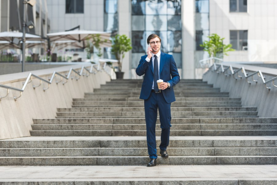 Businessman walking down stairs on a break