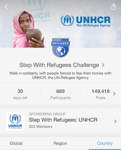 UNHCR Step With Refugees Challenge Main Page