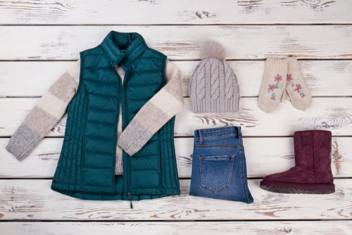 Cold weather outfit with gloves, boots and hat